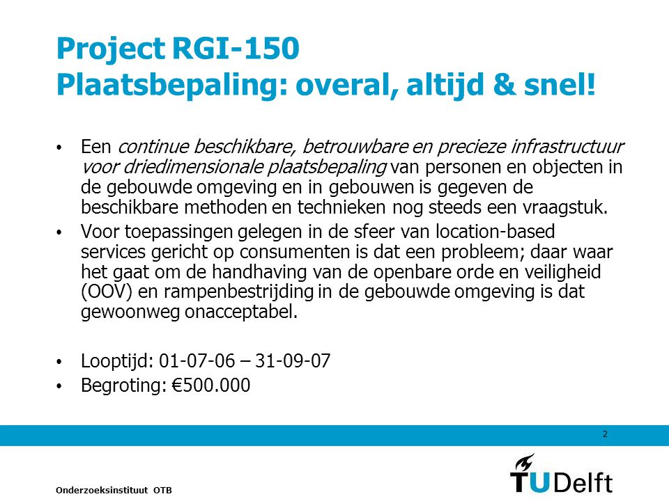 Project RGI-150 Plaatsbepaling: overal, altijd & snel!
