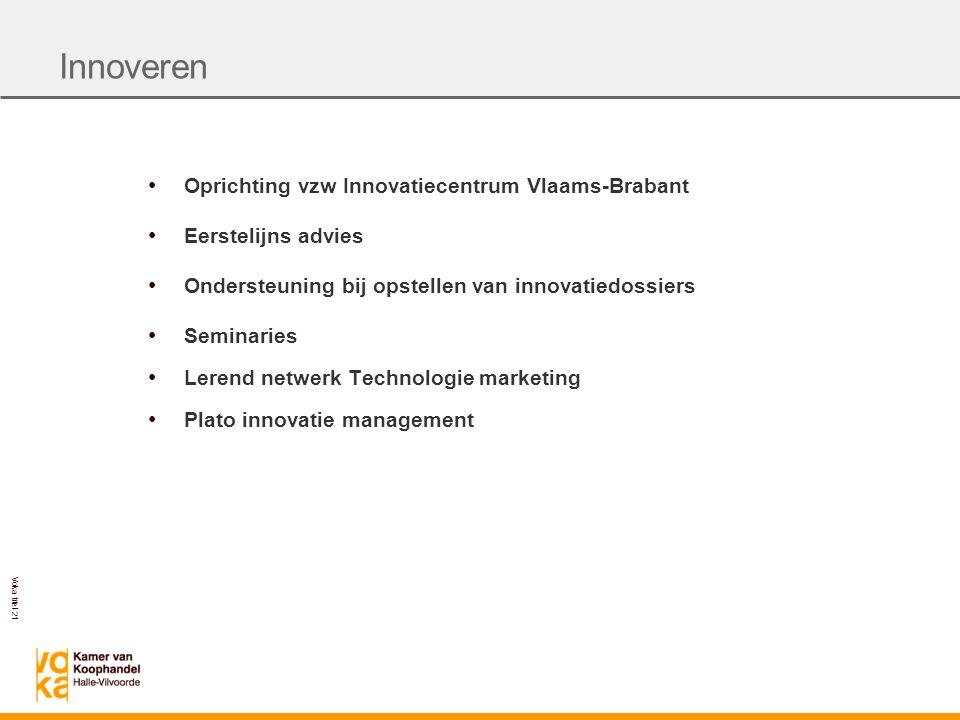 Innoveren Oprichting vzw Innovatiecentrum Vlaams-Brabant