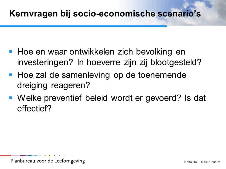 Kernvragen bij socio-economische scenario's