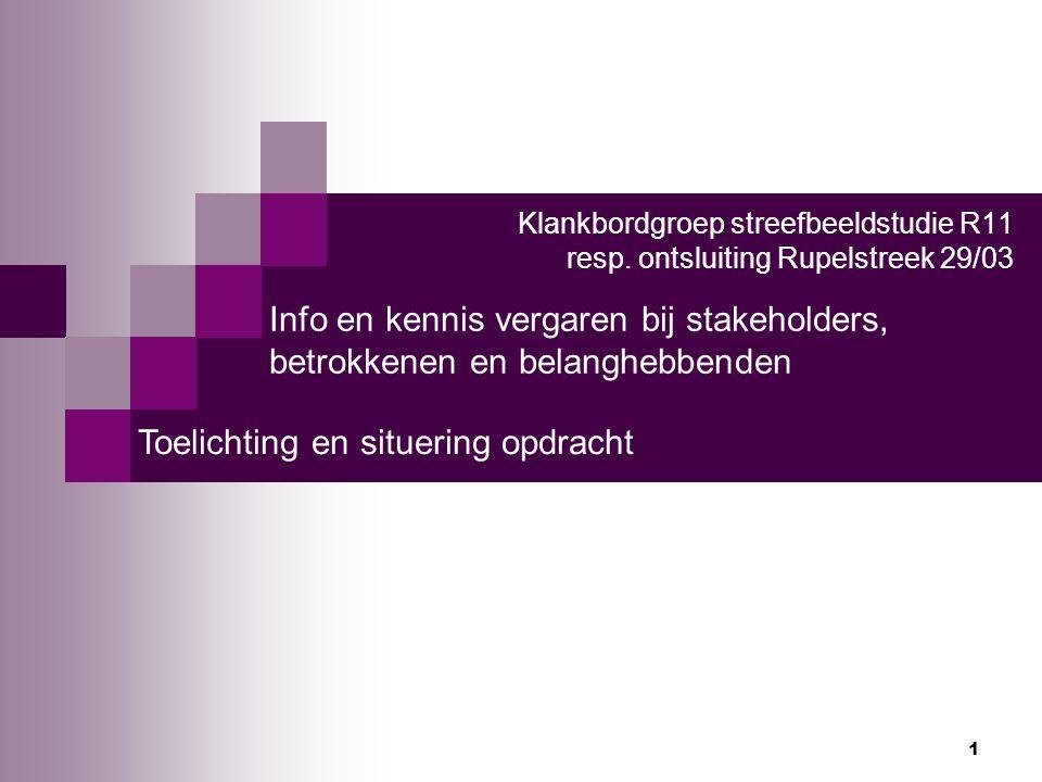 Info en kennis vergaren bij stakeholders,
