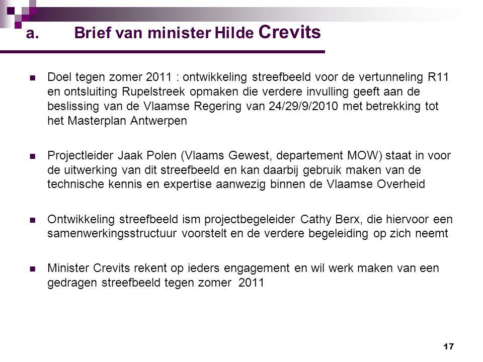 a. Brief van minister Hilde Crevits