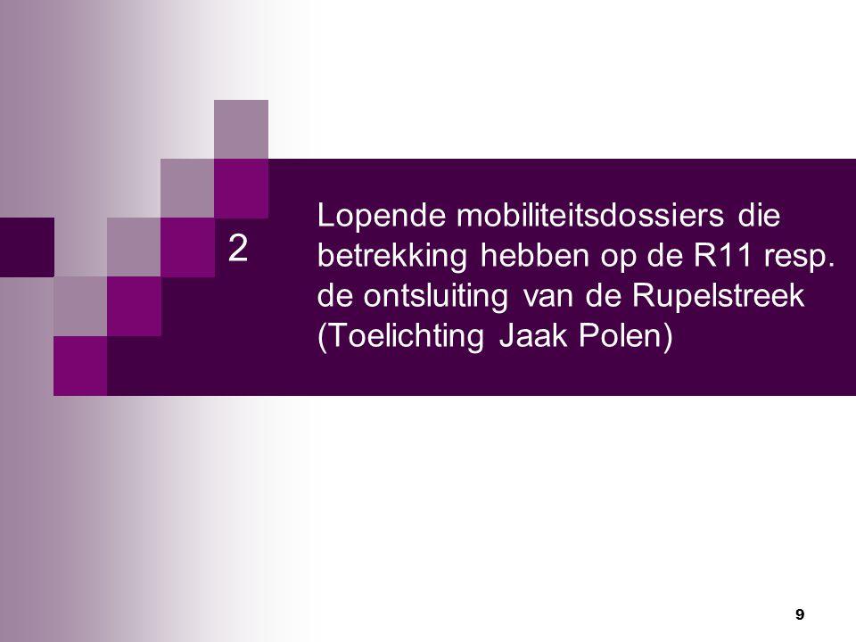 Lopende mobiliteitsdossiers die betrekking hebben op de R11 resp