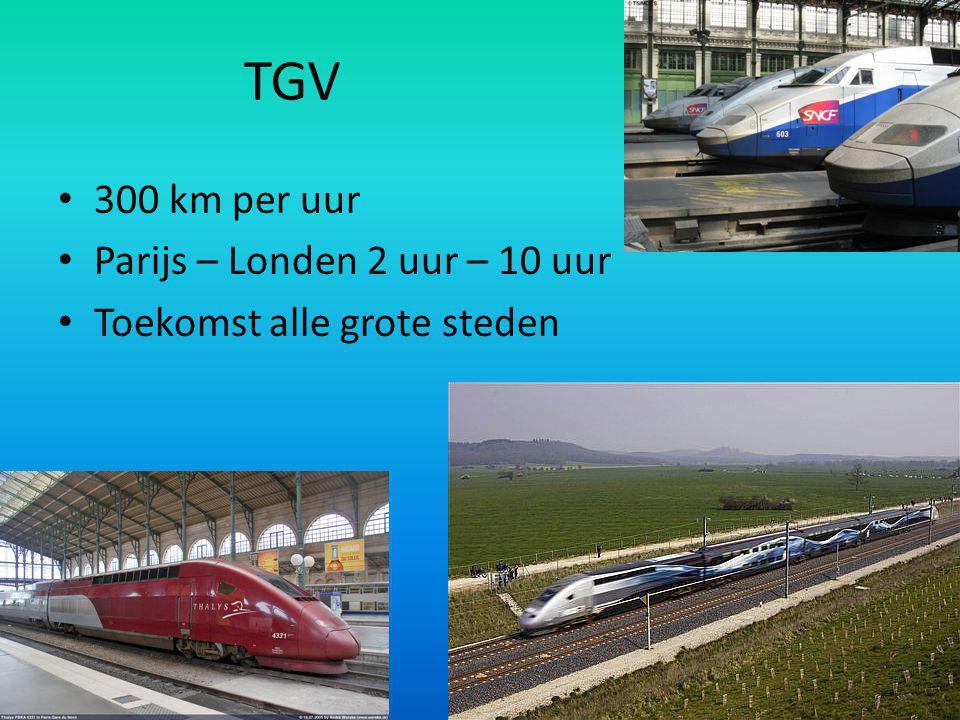 TGV 300 km per uur Parijs – Londen 2 uur – 10 uur