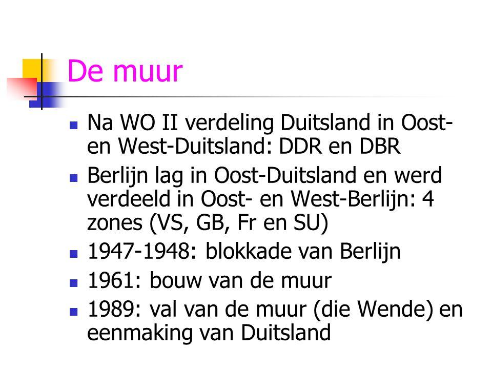 De muur Na WO II verdeling Duitsland in Oost- en West-Duitsland: DDR en DBR.