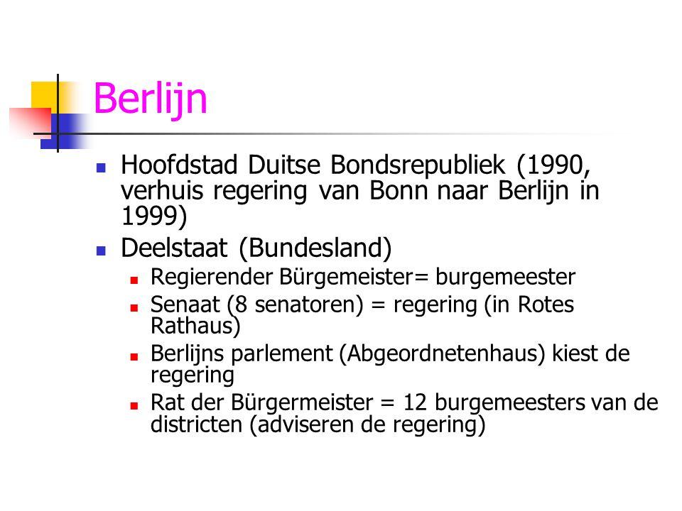 Berlijn Hoofdstad Duitse Bondsrepubliek (1990, verhuis regering van Bonn naar Berlijn in 1999) Deelstaat (Bundesland)