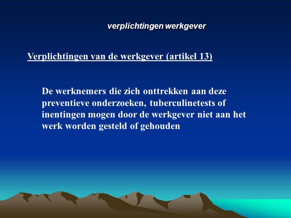 Verplichtingen van de werkgever (artikel 13)