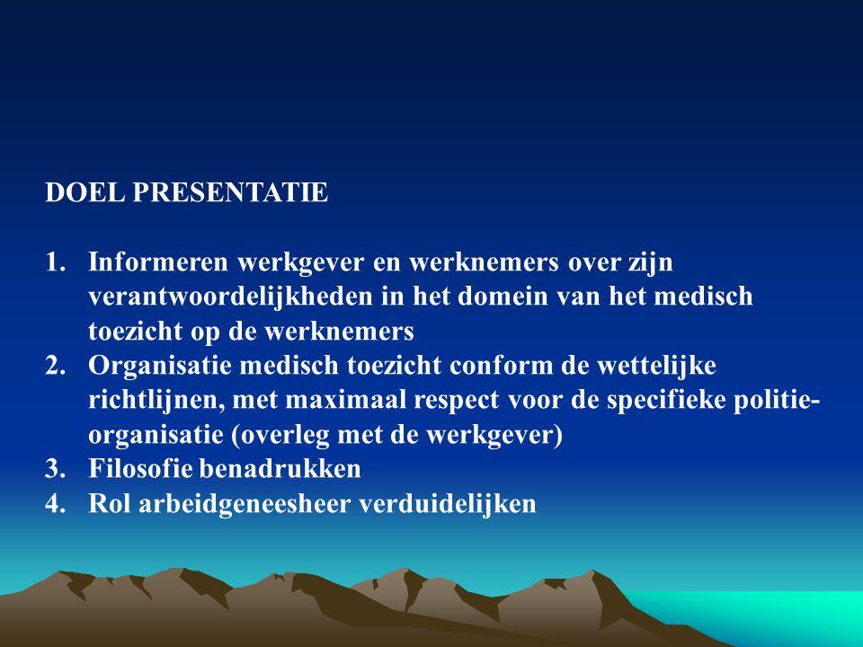 DOEL PRESENTATIE Informeren werkgever en werknemers over zijn verantwoordelijkheden in het domein van het medisch toezicht op de werknemers.