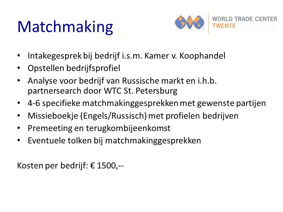 Matchmaking Intakegesprek bij bedrijf i.s.m. Kamer v. Koophandel
