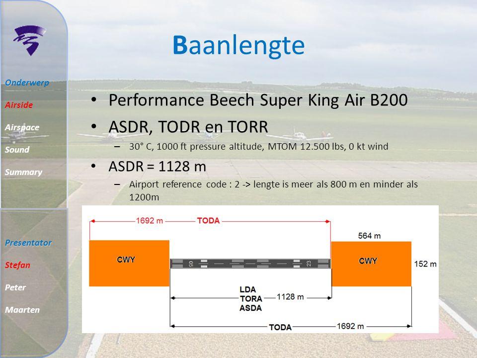 Baanlengte Performance Beech Super King Air B200 ASDR, TODR en TORR