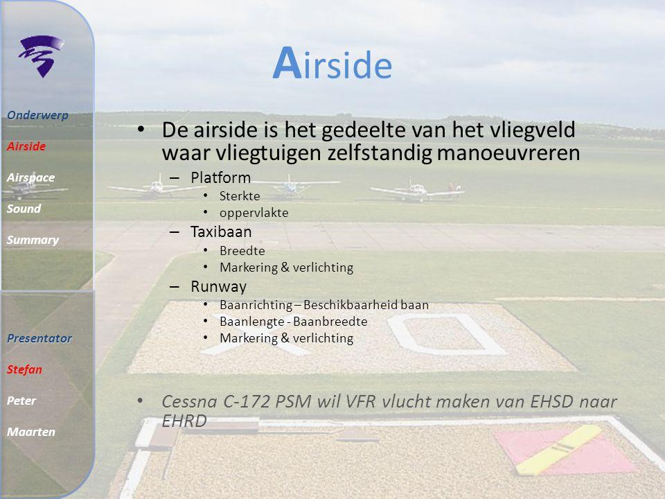 Airside Onderwerp. Airside. Airspace. Sound. Summary. De airside is het gedeelte van het vliegveld waar vliegtuigen zelfstandig manoeuvreren.