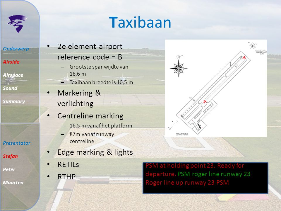 Taxibaan 2e element airport reference code = B Markering & verlichting