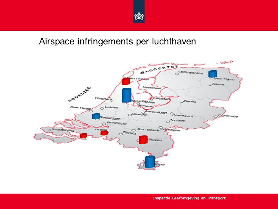 Airspace infringements per luchthaven