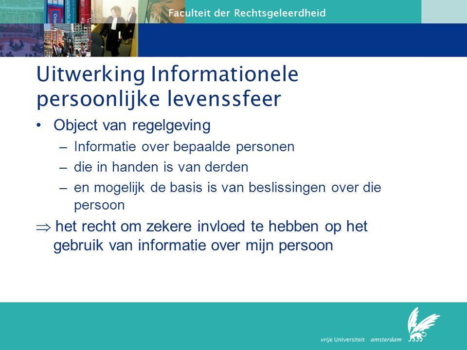 Uitwerking Informationele persoonlijke levenssfeer