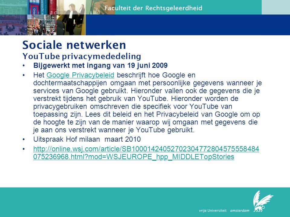 Sociale netwerken YouTube privacymededeling