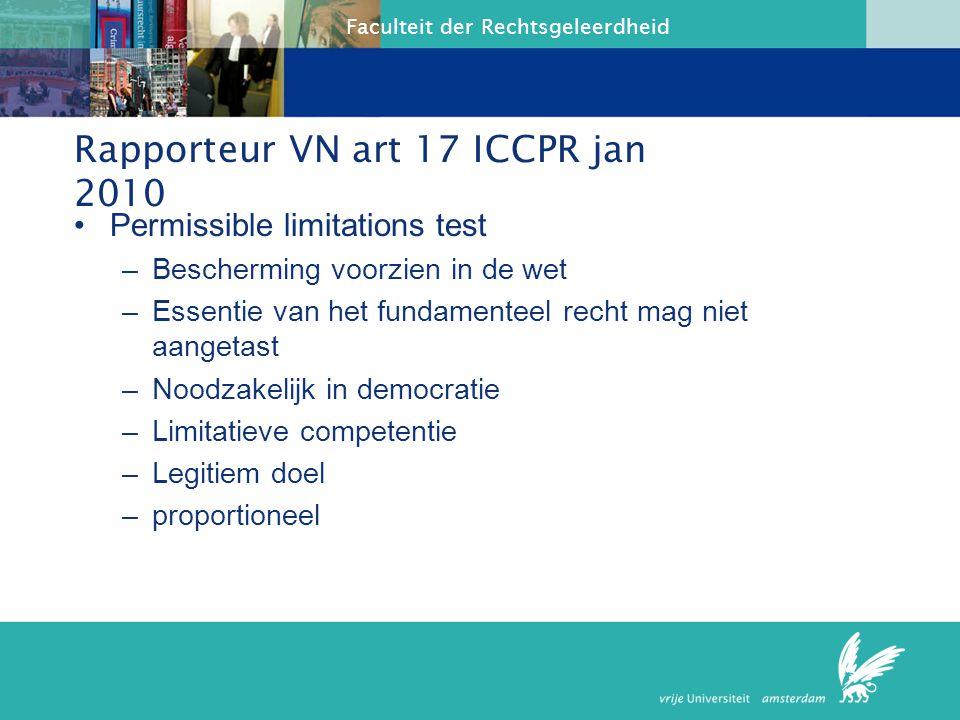 Rapporteur VN art 17 ICCPR jan 2010