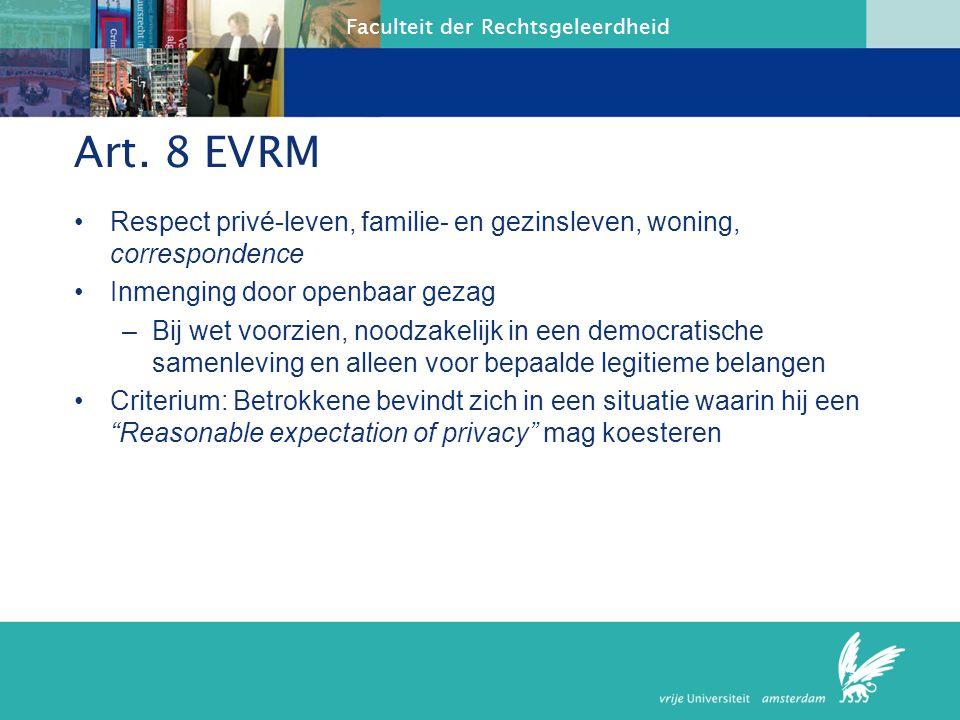 Art. 8 EVRM Respect privé-leven, familie- en gezinsleven, woning, correspondence. Inmenging door openbaar gezag.