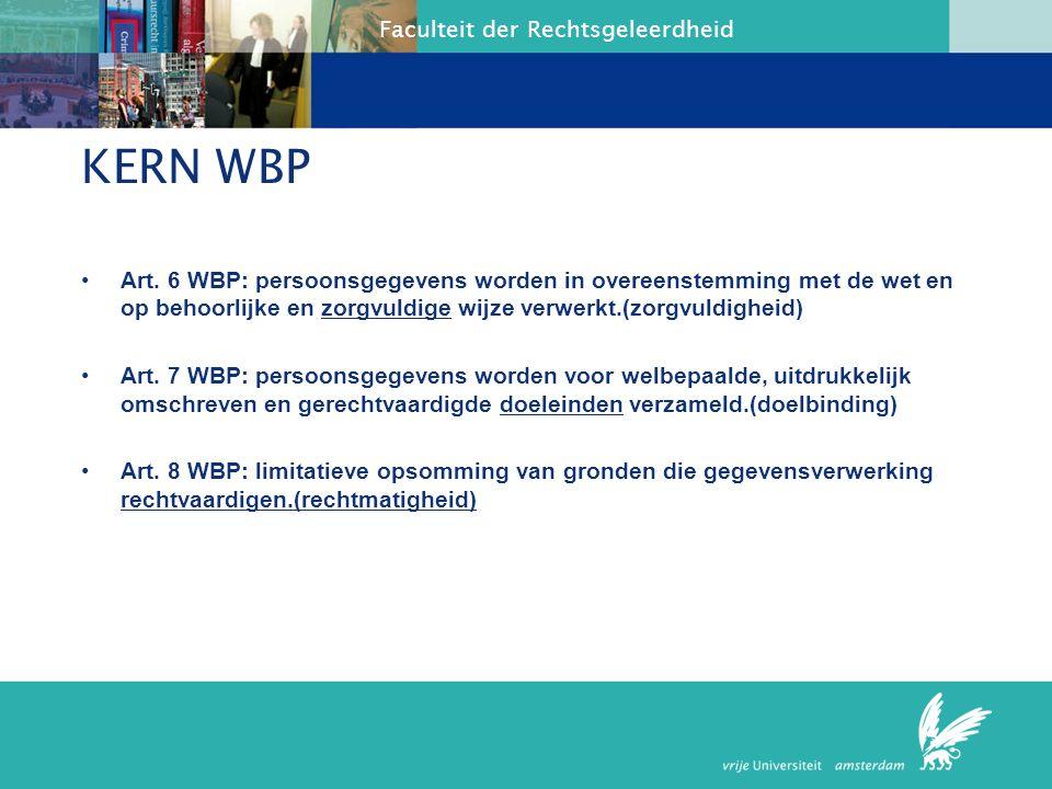 KERN WBP Art. 6 WBP: persoonsgegevens worden in overeenstemming met de wet en op behoorlijke en zorgvuldige wijze verwerkt.(zorgvuldigheid)