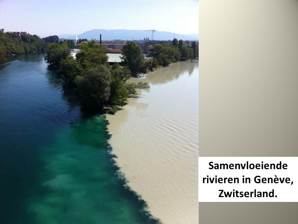 Samenvloeiende rivieren in Genève, Zwitserland.