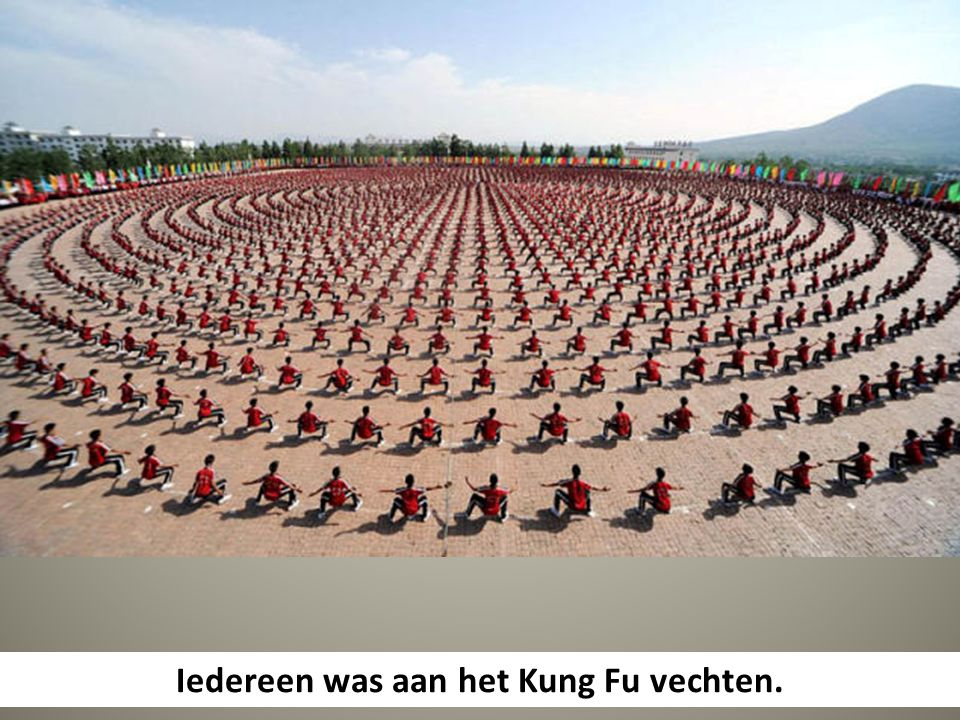 Iedereen was aan het Kung Fu vechten.