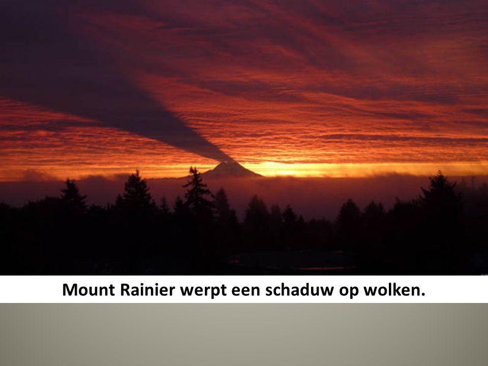 Mount Rainier werpt een schaduw op wolken.