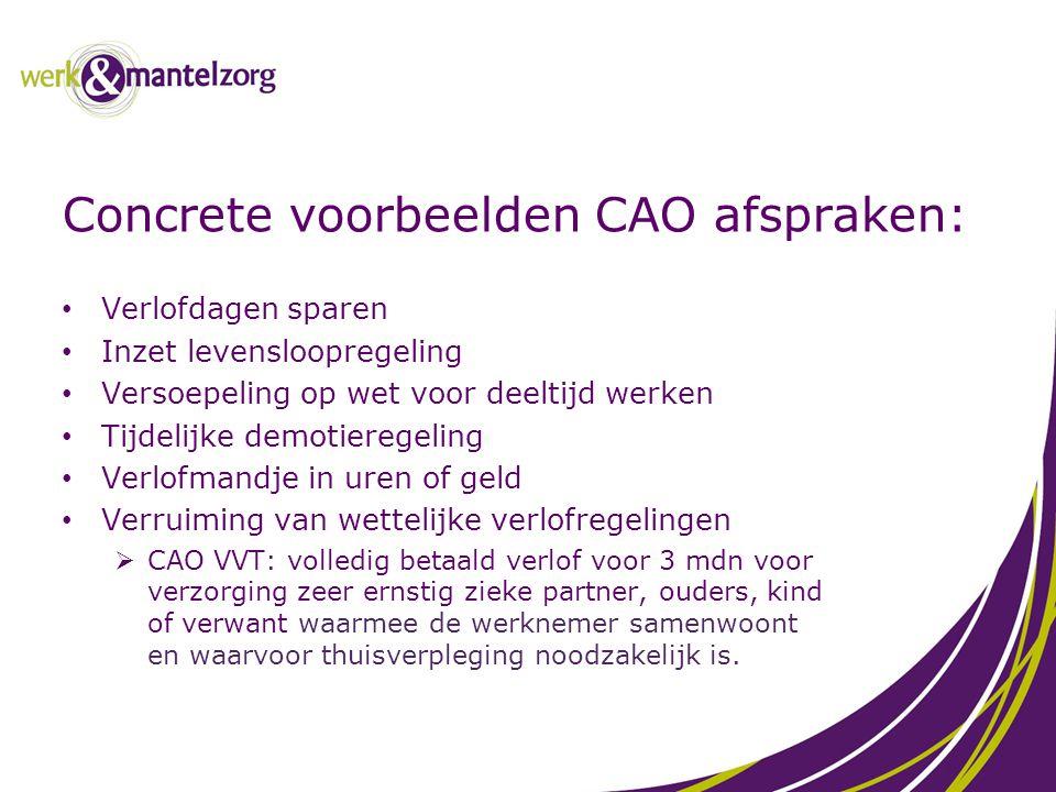 Concrete voorbeelden CAO afspraken: