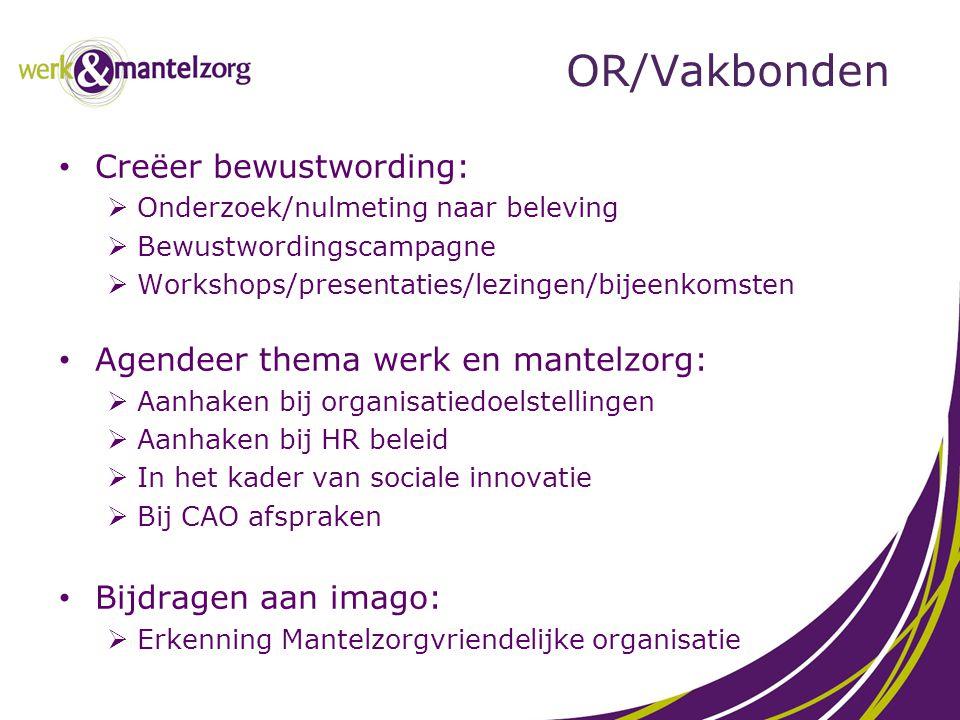 OR/Vakbonden Creëer bewustwording: Agendeer thema werk en mantelzorg: