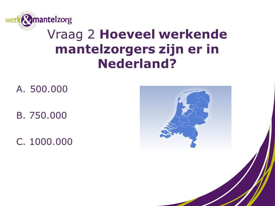 Vraag 2 Hoeveel werkende mantelzorgers zijn er in Nederland
