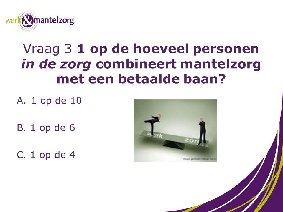 Vraag 3 1 op de hoeveel personen in de zorg combineert mantelzorg met een betaalde baan