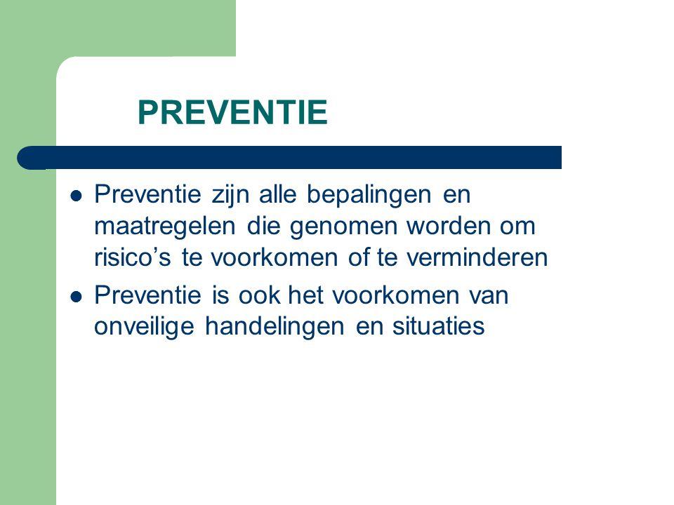 PREVENTIE Preventie zijn alle bepalingen en maatregelen die genomen worden om risico's te voorkomen of te verminderen.