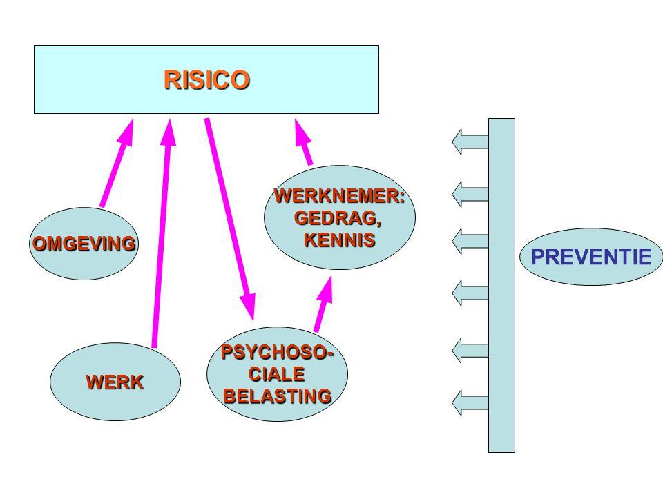 RISICO PREVENTIE WERKNEMER: GEDRAG, KENNIS OMGEVING PSYCHOSO- CIALE