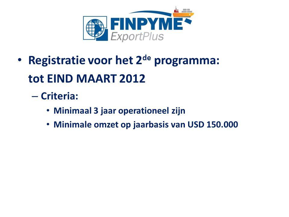 Registratie voor het 2de programma: tot EIND MAART 2012