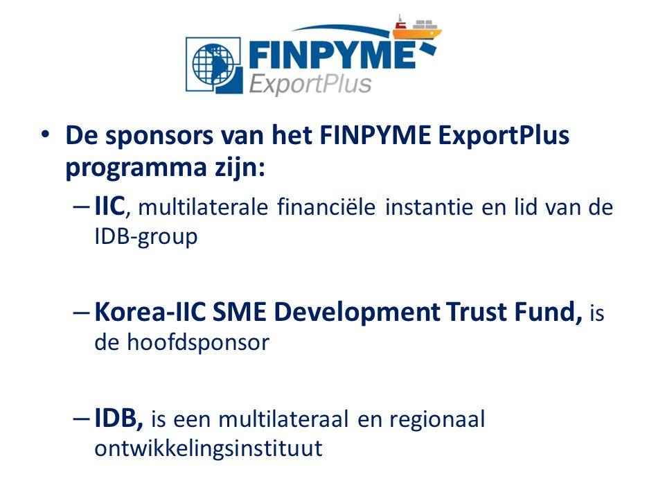 De sponsors van het FINPYME ExportPlus programma zijn: