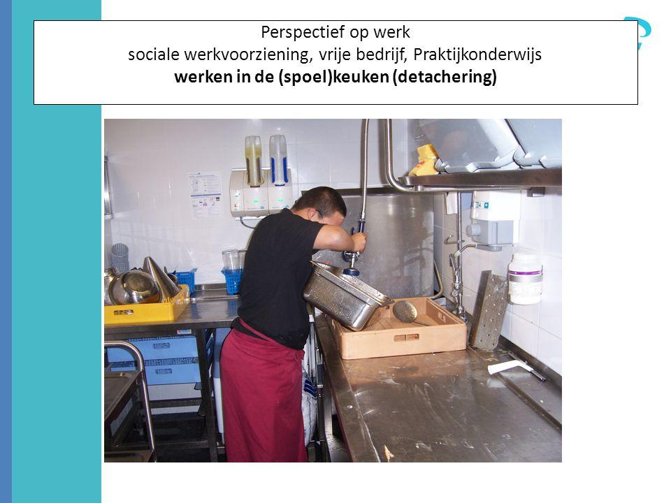 Perspectief op werk sociale werkvoorziening, vrije bedrijf, Praktijkonderwijs werken in de (spoel)keuken (detachering)
