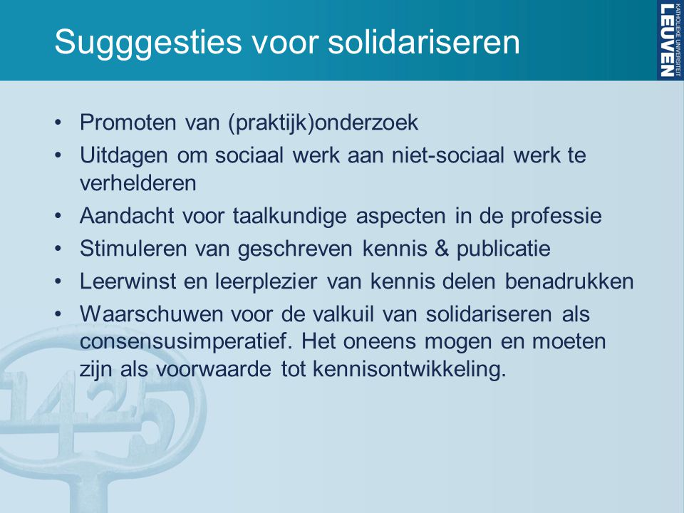 Sugggesties voor solidariseren