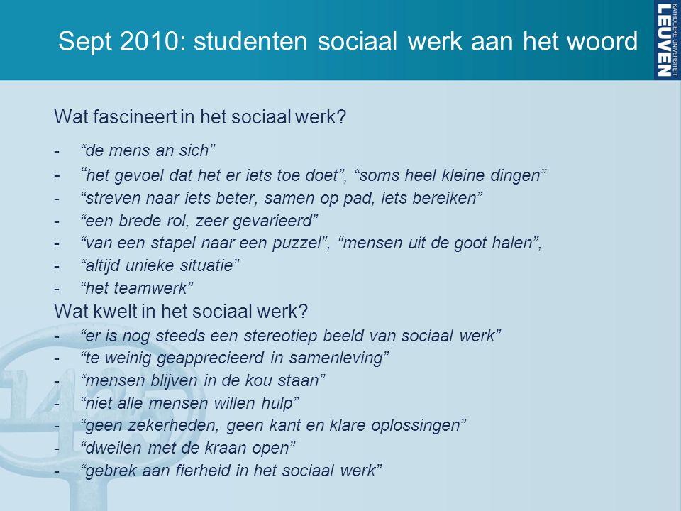 Sept 2010: studenten sociaal werk aan het woord