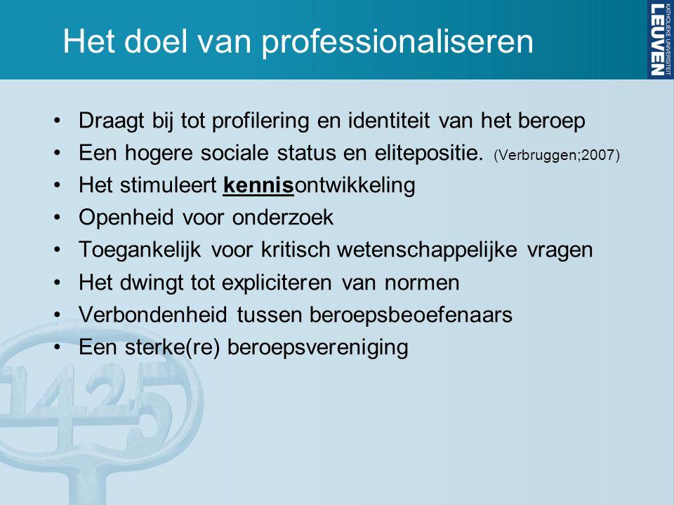 Het doel van professionaliseren