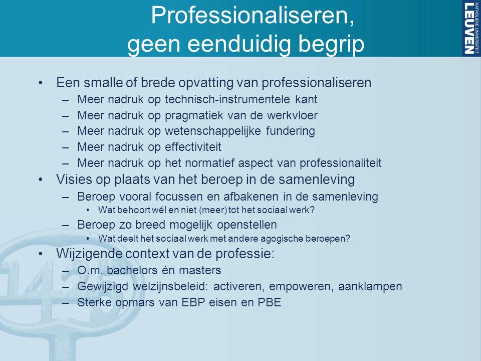 Professionaliseren, geen eenduidig begrip
