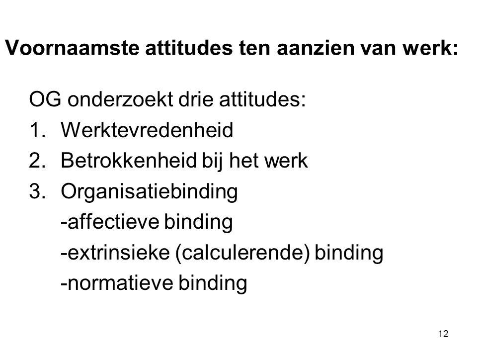 Voornaamste attitudes ten aanzien van werk: