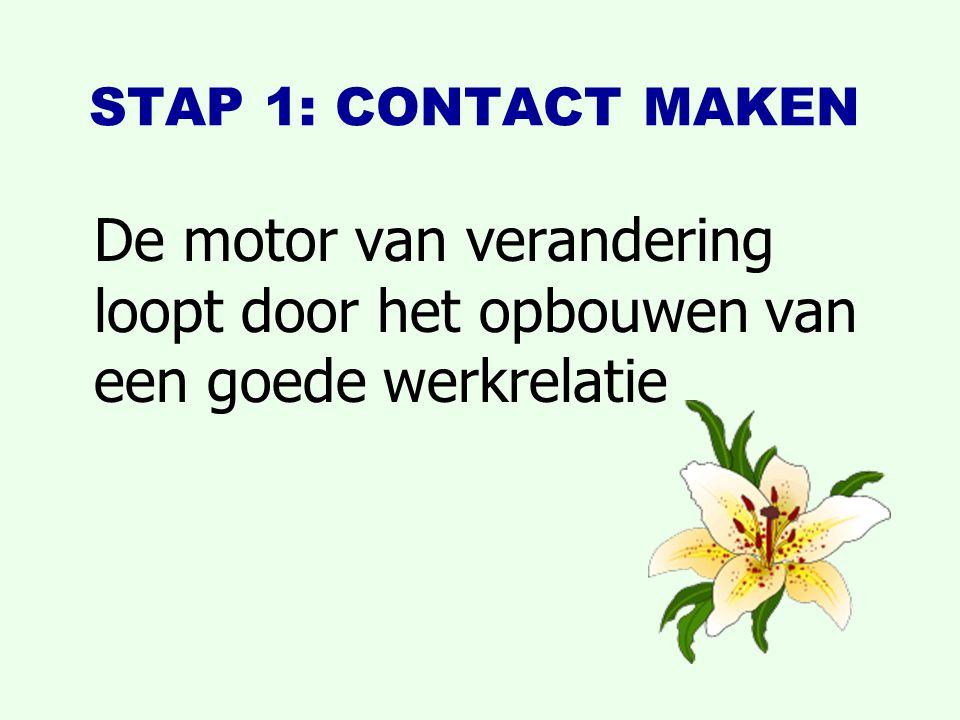 STAP 1: CONTACT MAKEN De motor van verandering loopt door het opbouwen van een goede werkrelatie.