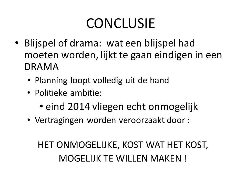 CONCLUSIE Blijspel of drama: wat een blijspel had moeten worden, lijkt te gaan eindigen in een DRAMA.