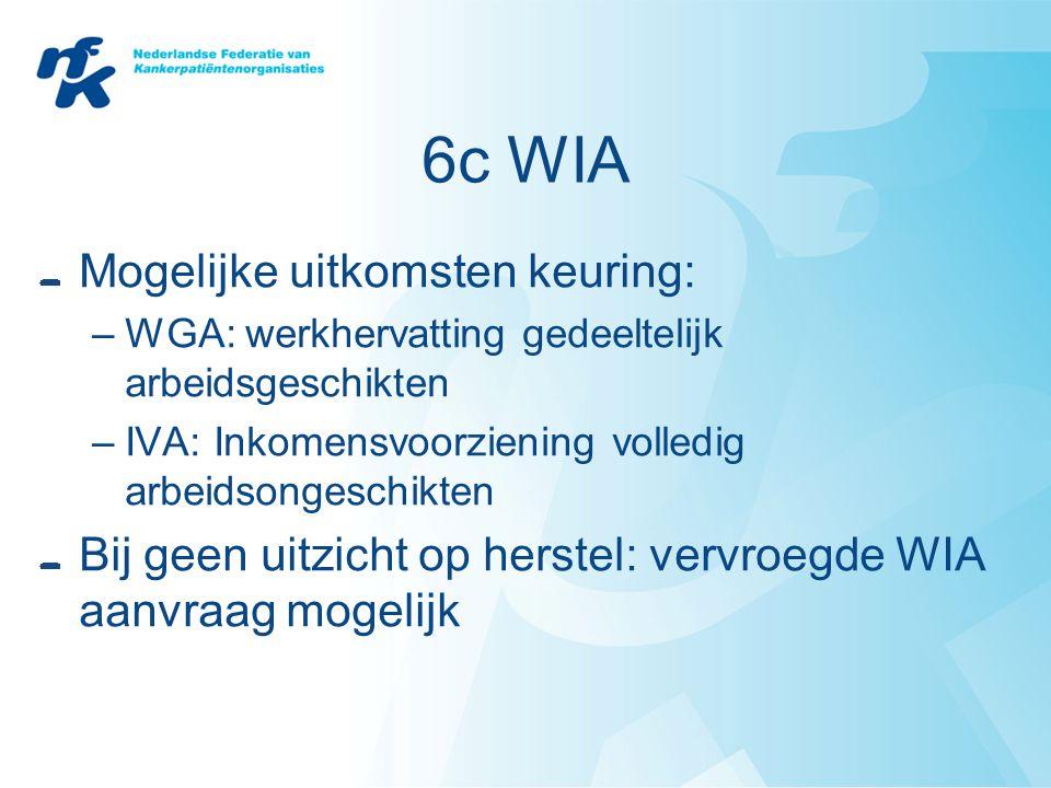 6c WIA Mogelijke uitkomsten keuring: