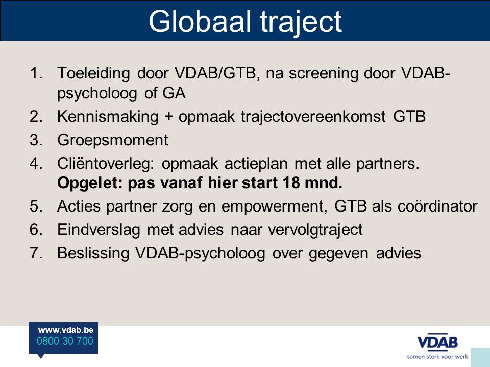 Globaal traject Toeleiding door VDAB/GTB, na screening door VDAB-psycholoog of GA. Kennismaking + opmaak trajectovereenkomst GTB.