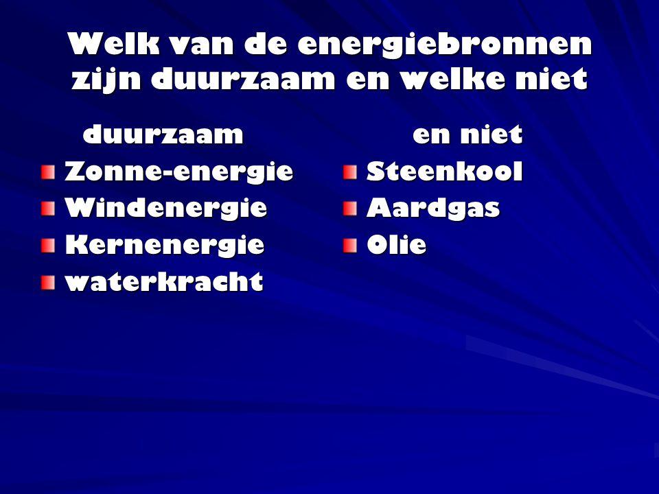 Welk van de energiebronnen zijn duurzaam en welke niet