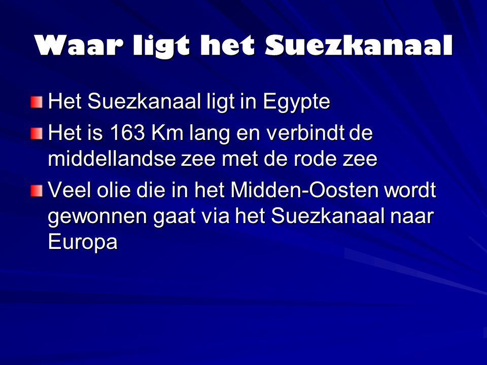 Waar ligt het Suezkanaal