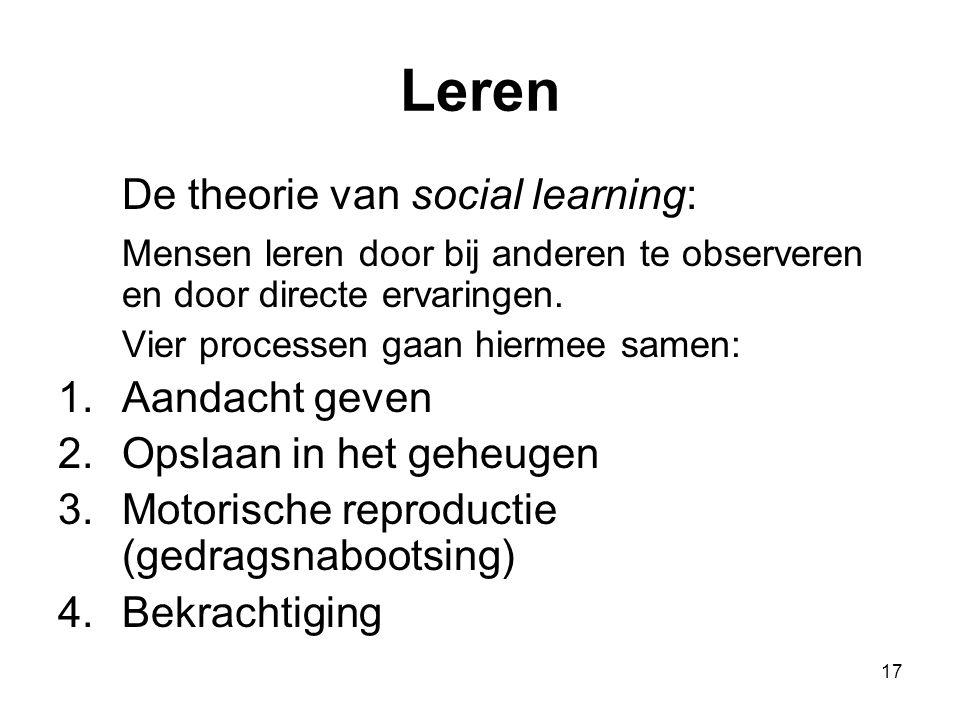 Leren De theorie van social learning: