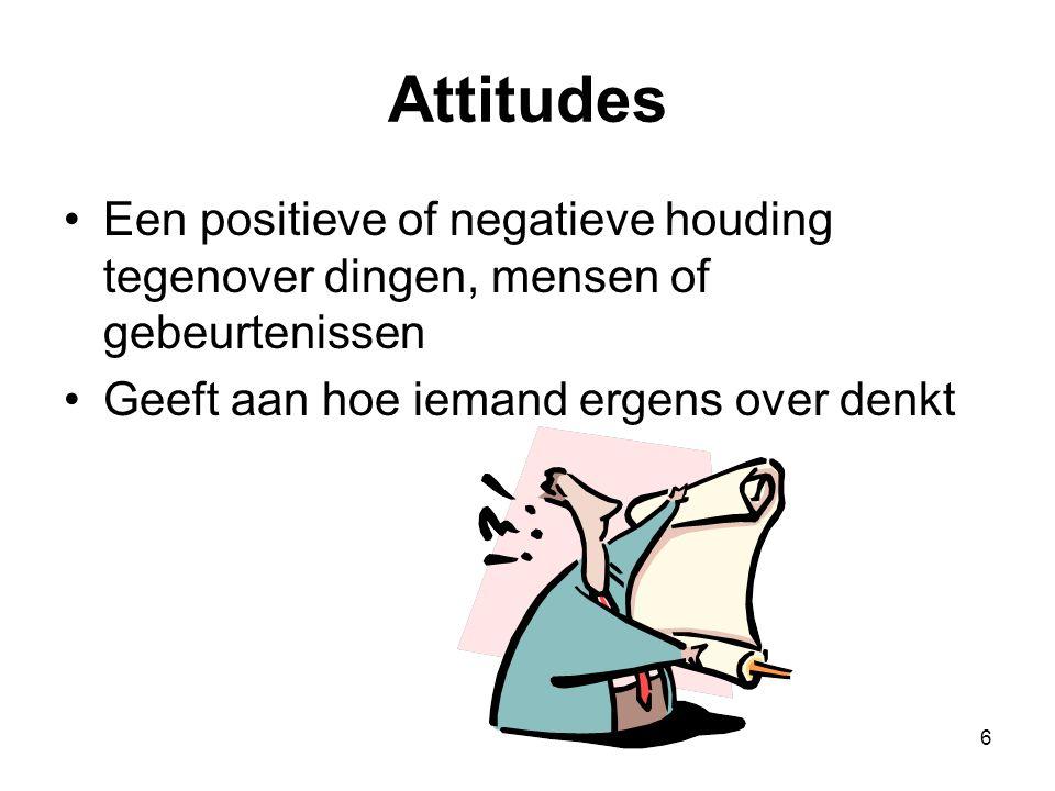 Attitudes Een positieve of negatieve houding tegenover dingen, mensen of gebeurtenissen.