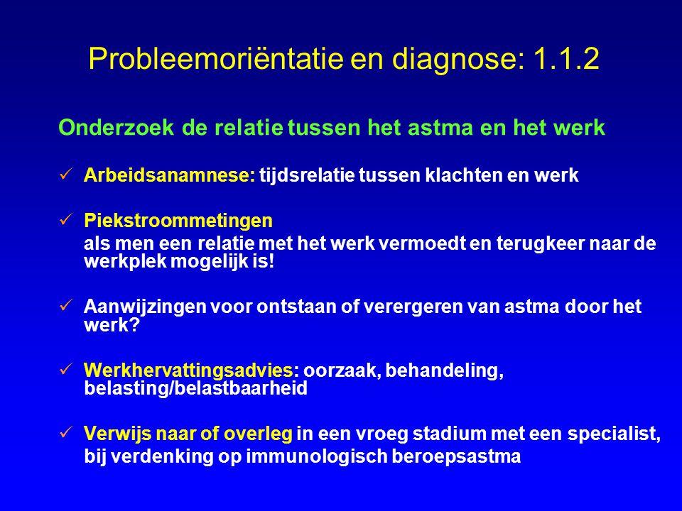 Probleemoriëntatie en diagnose: 1.1.2