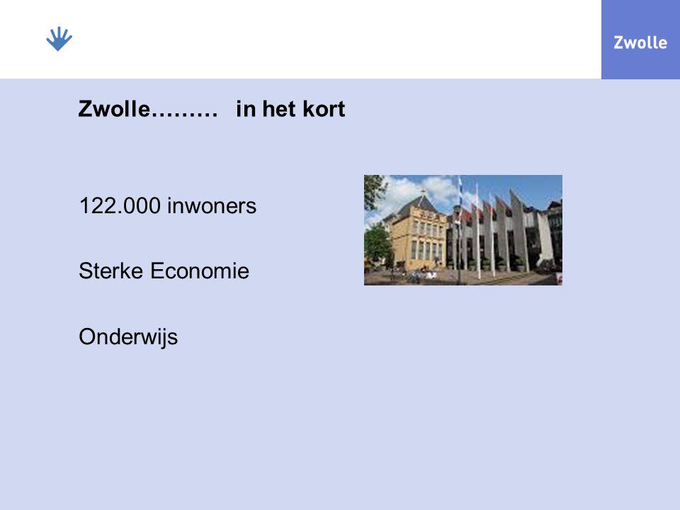 Zwolle……… in het kort 122.000 inwoners Sterke Economie Onderwijs