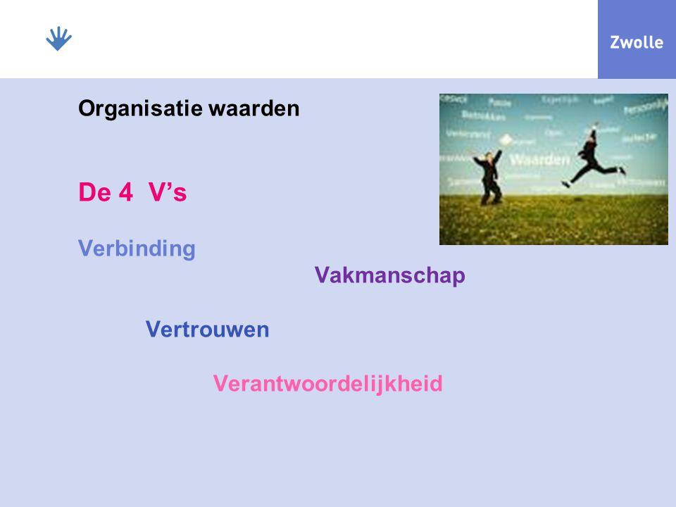 Organisatie waarden De 4 V's Verbinding Vakmanschap. Vertrouwen