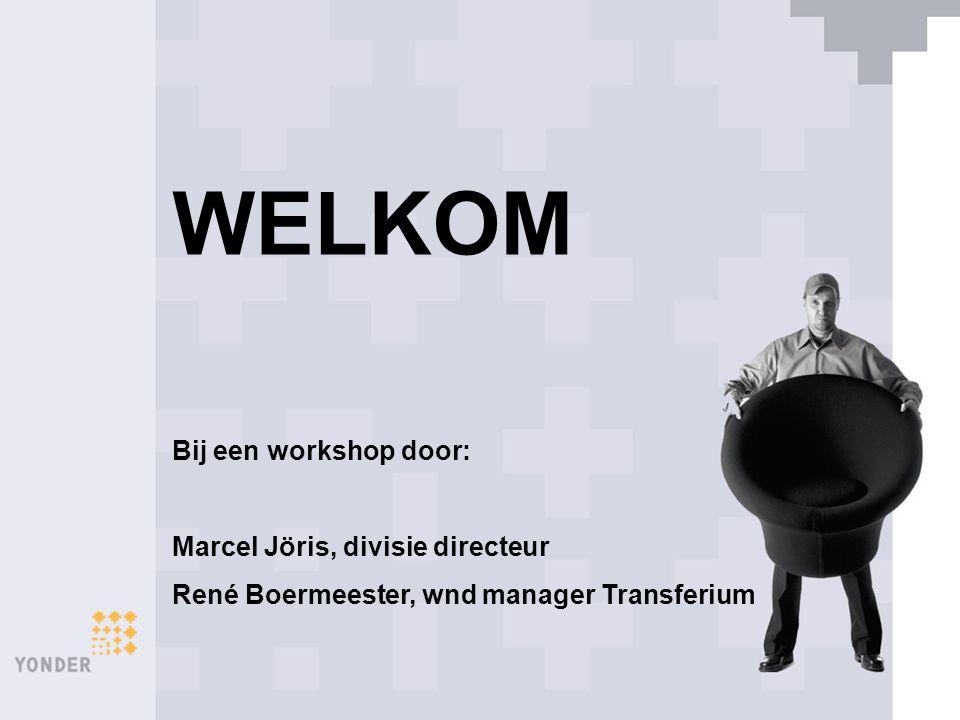 WELKOM Bij een workshop door: Marcel Jöris, divisie directeur